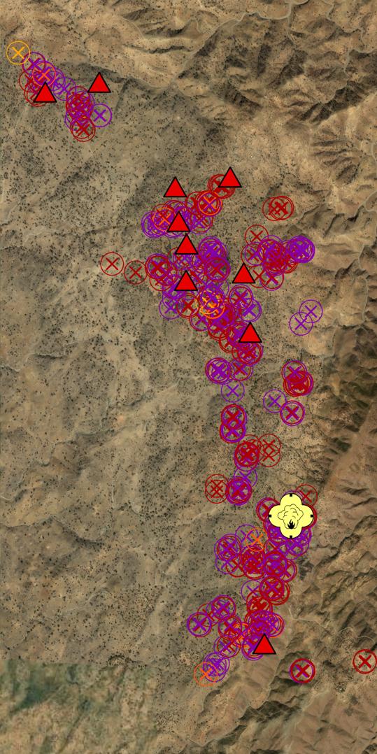 Mappa Tigray villaggi e case bruciate satellite