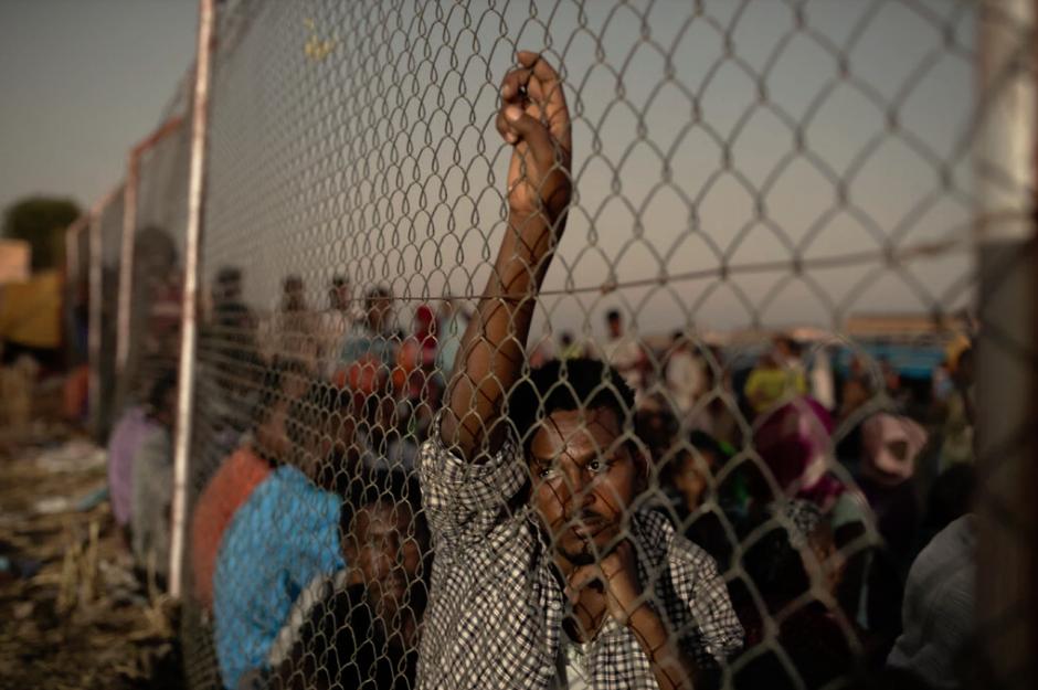 Rifugiati etiopi fuggiti dalla regione del Tigray in un complesso delle Nazioni Unite in Sudan a dicembre.