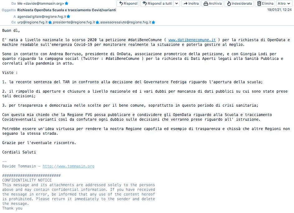 Richiesta opendata tracciamento Covid Scuola FVG