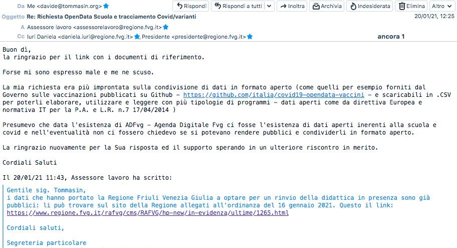 Seconda Richiesta opendata tracciamento Covid Scuola FVG