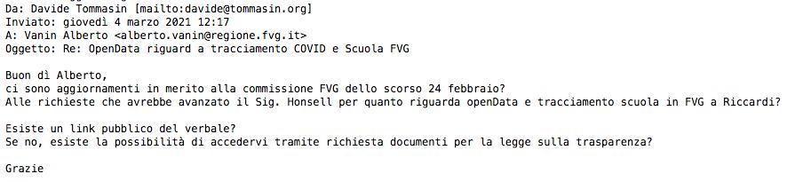 Richiesta Aggiornamenti Richiesta opendata tracciamento Covid Scuola FVG