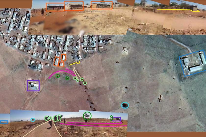 En haut, un montage de différentes cattura l'ecran de la vidéo, au moment où le cameraman filme en direction du village et, en bas, un montage montrant le moment où il filme la sortie du village (direction sud-ouest). On voit les mêmes éléments entourés sur ae image satellite capturée aux coordonnées suivantes: 13.820976, 38.125441. © Google Earth Pro / Francia 24