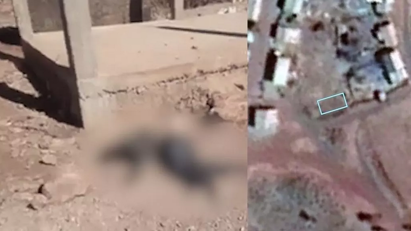 À gauche, une capture d'écran de la vidéo où the on voit un bâtiment en cours de construction et, à droite, une image satellite de l'endroit datée de 2018 sur laquelle ce bâtiment est absent. © Google Earth Pro / Francia 24