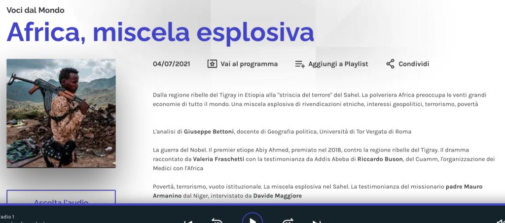 Radio Rai 1 voci dal mondo - Guerra Tigray Etiopia Eritrea