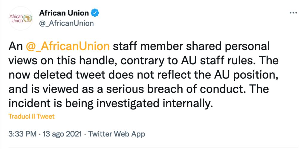 Unione Africana Twitter - commento cancellato ed indagini interne