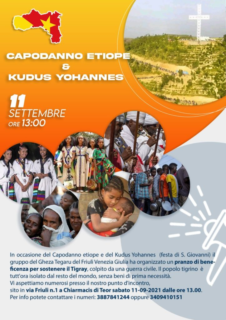 Pranzo beneficenza per il Tigray Etiopia - Capodanno Etiope e Festa di San Giovanni - Via Friuli n.1 Chiarmacis di Teor (Udine)