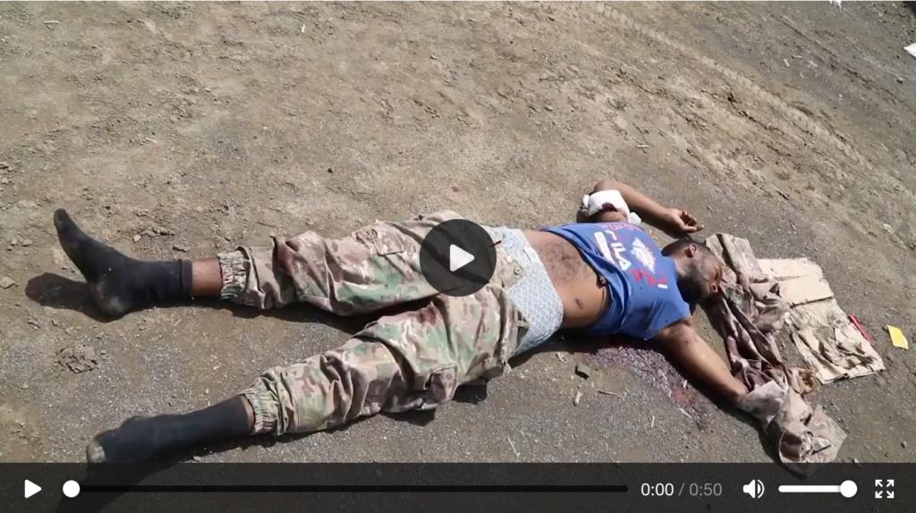 Il filmato mostra anche le carte d'identità dei soldati e uno sguardo ravvicinato alle aree in cui sono stati uccisi - Tigray Etiopia