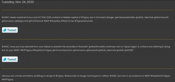 Figura 1: Un esempio di campagna Twitter copypasta ospitata sul sito web di Stand With Tigray nel novembre 2020. Fonte: https://web.archive.org/web/20201113065541/https://www.standwithtigray.com/twitter-campaign