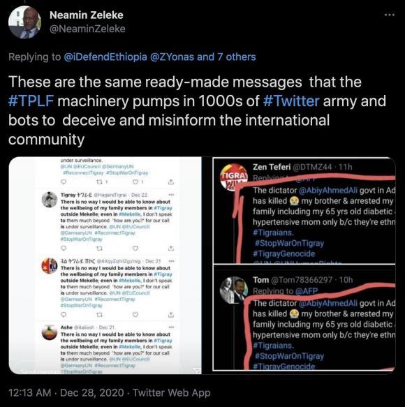 Figura 13: Tweet di Neamin Zeleke che sostiene l'uso di bot da parte di organizzatori pro-TPLF per fuorviare il pubblico. Fonte: https://twitter.com/NeaminZeleke/status/1343424717185822720