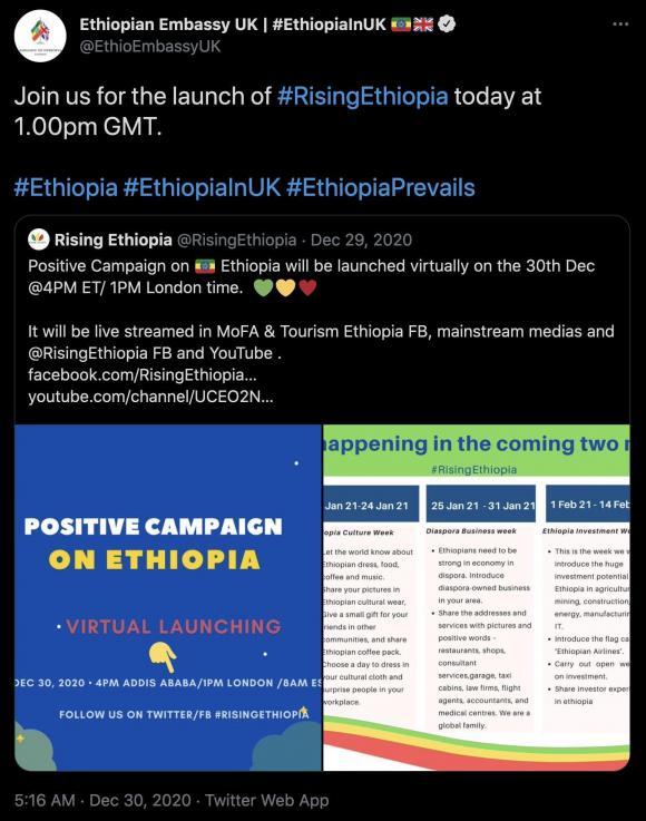 Figura 7: Esempio dell'ambasciata etiope nel Regno Unito che utilizza uno degli hashtag pro-governativi che hanno iniziato a circolare all'inizio del conflitto. Fonte: https://twitter.com/EthioEmbassyUK/status/1344225829165936640