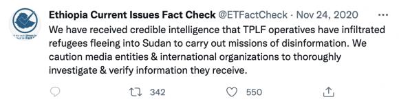 Figura 8: tweet iniziale dell'account SOEFactCheck che semina la narrativa sui rifugiati e le fonti dei giornalisti infiltrate dal TPLF. Fonte: https://twitter.com/SOEFactCheck/status/1331261456617234432