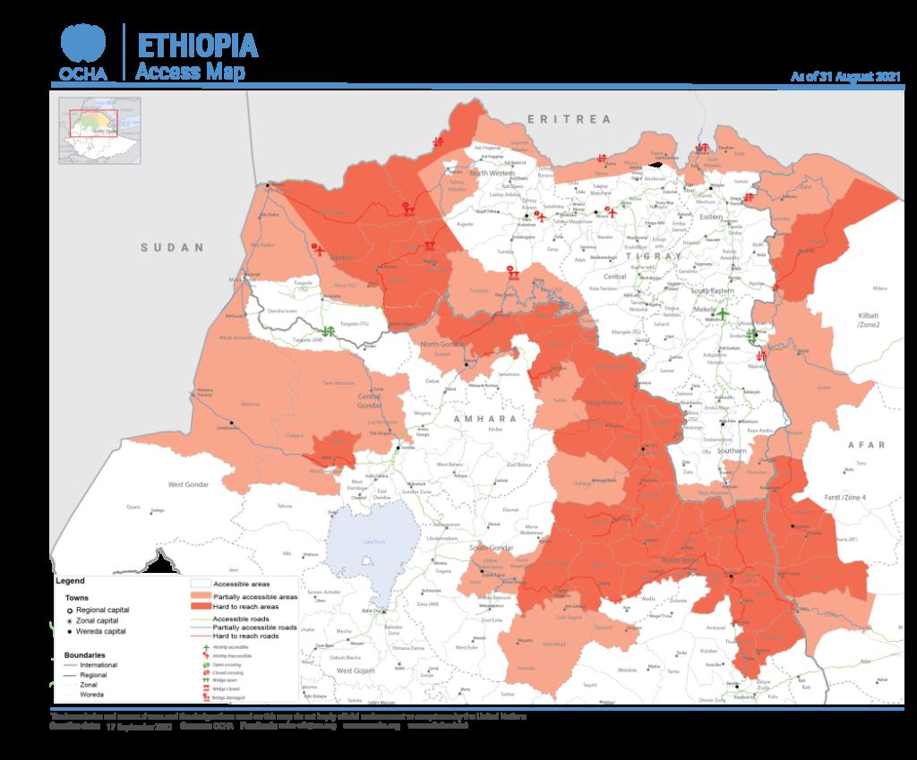 Accesso Umanitario - Mappa del 17 Settembre 2021 - le zone bianche sono accessibili al supporto umanitario, in rosso chiaro sono parzialmente accessibili ed in rosso scuro sono totalmente inacessibili al supporto umanitario