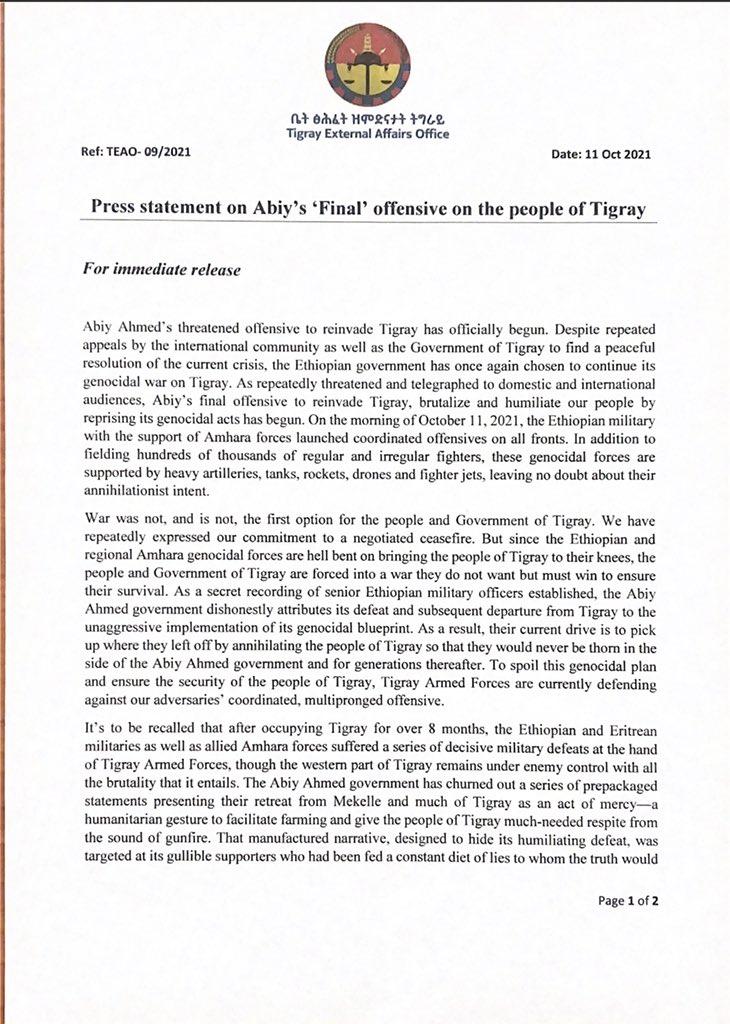 """Press statement on Abiy's """"Final"""" offensive on the people of Tigray. - Comunicato stampa sull'offensiva """"finale"""" di Abiy sul popolo del Tigray."""